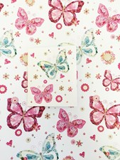 Gift Wrap Birthday Luxury Butterflies & Floral Paper - 2 Sheets & 1 Gift Tag