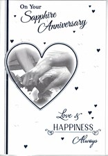 Anniversary 45th Card – Hearts and Rings