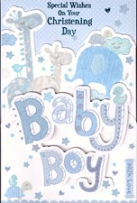 Christening Day – Blue Cute Animals Layered Card