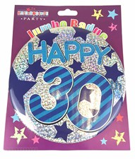 Party Badge 30 Birthday '30 Today' Large Badge - Blue Stars