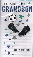 Birthday Grandson Large Card - Football and Trainers