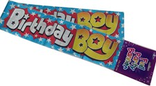 Party All Ages Birthday Boy Banner - Blue Holographic