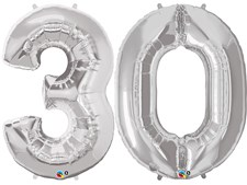 """Qualatex Silver Giant 34"""" Number '30' Foil Balloon Pack"""