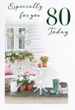 Birthday Age 80th Card - Porch & Flowers