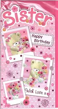 Birthday Sister Card - Cute Bears and Flowers