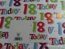Gift Wrap Birthday 18th Today Deluxe Wrapping Paper - 2 Sheets & 1 Matching Tag