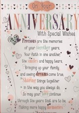 Anniversary Open Pop Up Card – Multicoloured Hearts