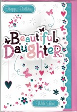 Birthday Daughter Card - Hearts and Butterflies