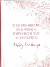 Birthday Mum Card - Vintage Roses