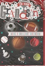 Birthday Grandson Card - Sports Design