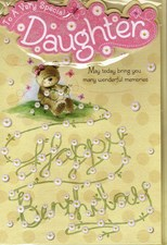 Birthday Daughter Card - Cute Bear and Daisies