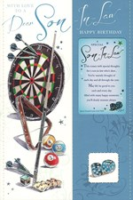 Birthday Son in Law Card - Dart Board and Snooker