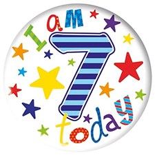 Party All Ages Badge 7 Birthday - I Am 7 Today, With Stars