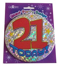 Party Badge 21 Birthday '21 Today' Large Badge - Golden Stars