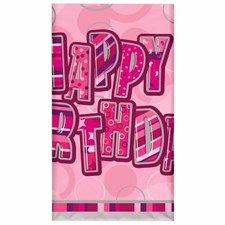 Pink Glitz Happy Birthday Plastic Table Cover