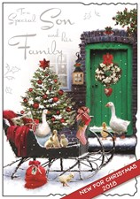 Christmas Son & Family Card - Christmas Sleigh & Ducks