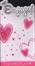 Engagement Wishes Card - Pink Hearts