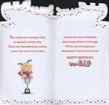 Birthday Dad Card - Puppy & Trophy