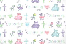 Gift Wrap Christening Cute Bears & Prams Deluxe Wrapping Paper - 1 Sheet