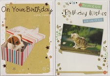 Birthday Assorted Cute Puppy & Kitten Cards - Pack of 12