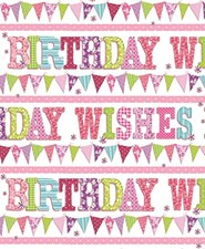 Wrapping Paper Birthday 2 Sheets & 1 Matching Tag - Flowers