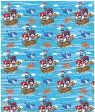 Gift Wrap Birthday Children's Blue Pirates Wrapping Paper - 2 Sheets & 1 Tag