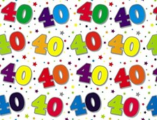 Gift Wrap Birthday 40th Today Wrapping Paper - 2 Sheets & 1 Matching Tag