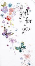 Money Wallet/ Gift Three Fold Card - A Gift For You Butterflies & Flowers