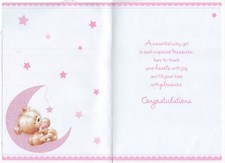 Baby Adoption Of Your Daughter Card - Bear & Moon