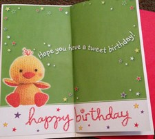 Birthday Great Granddaughter Card - Knitted Chick