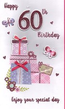 Birthday Age 60th 3-D Large Card - Cake Stand Design