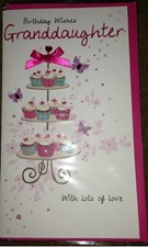 Birthday Granddaughter 3-D Large Card - Cupcake Stand Design