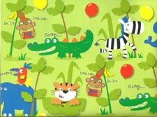 Gift Wrap Birthday Children's Jungle Wrapping Paper - 5 Sheets & 2 Matching Tags