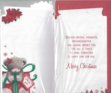 Christmas Granddaughter Card - Cute Bear in A Box