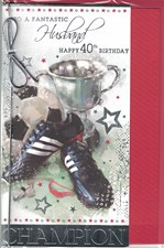Birthday Age 40th Husband Card - Football Trainers