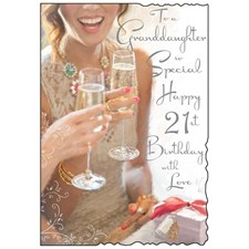 Birthday Granddaughter 21st Card - Woman Holding A Glass Of Champaign