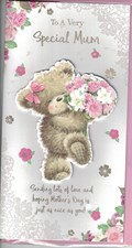 Mother's Day Card - Cute Bear With A Bouquet Of Flowers