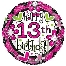Party Birthday Happy 13th Birthday Foil Balloon - Hearts and Flowers