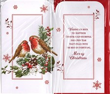 Christmas To Both Of You Card - Two Loved-up Robins