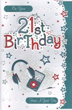 Birthday Age 21st Card - Headphones & Music Player