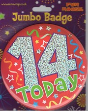 Party Badge 14 Birthday '14 Today' Large Badge - Stars and Swirls