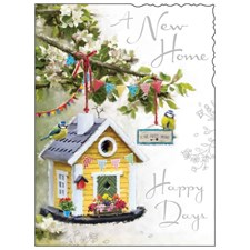 New Home Card - A Bird House And Buntings!