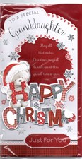 Christmas Granddaughter Card - Cute Bear With A Santa Hat