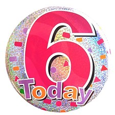 Party All Ages Badge 6 Birthday Large Badge - Pink Multicoloured Shapes