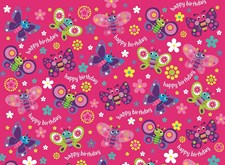 Gift Wrap Birthday Girl Butterfly Deluxe Wrapping Paper - 2 Sheets & 1 Tag