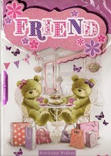 Birthday Friend Card - Cute Bears & Cafe