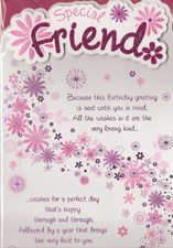 Birthday Special Friend Card - Pink Flowers