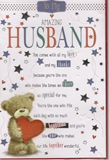 Birthday Husband Card - Cute Bear & Stars