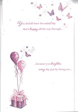 Mother's Day Card - A Cute Bear Surrounded By Beautiful Butterflies And Presents