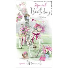 Birthday Female Card - An Illustration Of A Bike Adorned With Flowers